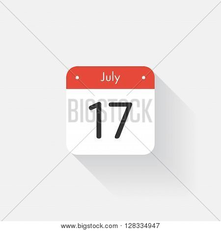 Calendar Icon with long shadow. Flat style. Date, day and month. Reminder. Vector illustration. Organizer application, app symbol. Ui. User interface sign. July. 17