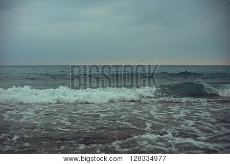 Blue sea with waves and sky