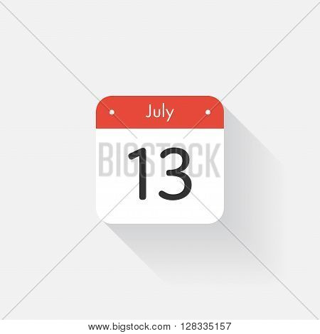 Calendar Icon with long shadow. Flat style. Date, day and month. Reminder. Vector illustration. Organizer application, app symbol. Ui. User interface sign. July. 13