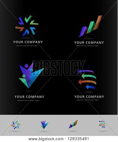 bright colors , corporate logo / icon collection on black background