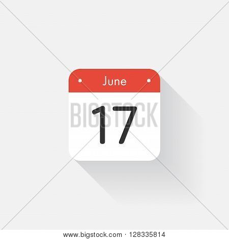 Calendar Icon with long shadow. Flat style. Date, day and month. Reminder. Vector illustration. Organizer application, app symbol. Ui. User interface sign. June. 17