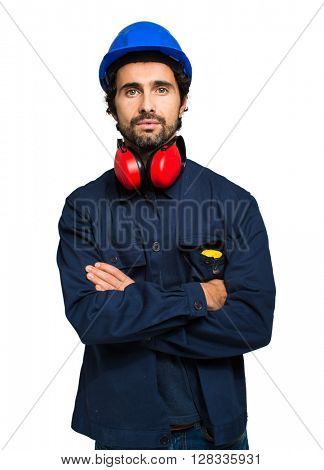 Portrait of an industrial worker isolated on white