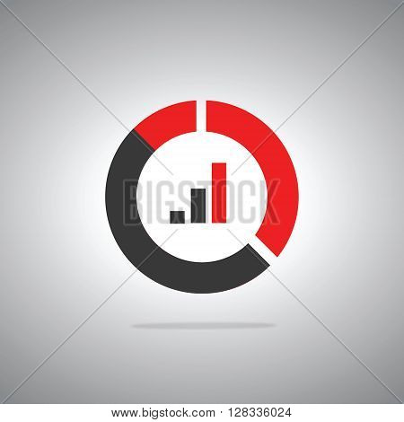 Chart icon flat style, black and orange colors, growth web icon, vector eps10 illustration