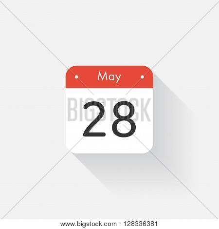 Calendar Icon with long shadow. Flat style. Date, day and month. Reminder. Vector illustration. Organizer application, app symbol. Ui. User interface sign. May. 28