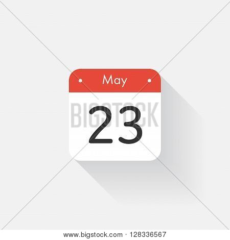 Calendar Icon with long shadow. Flat style. Date, day and month. Reminder. Vector illustration. Organizer application, app symbol. Ui. User interface sign. May. 23