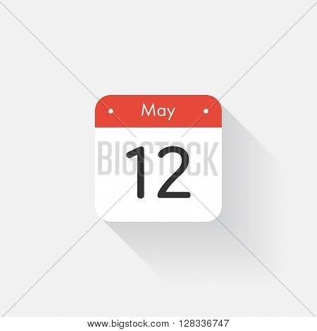 Calendar Icon with long shadow. Flat style. Date, day and month. Reminder. Vector illustration. Organizer application, app symbol. Ui. User interface sign. May. 12