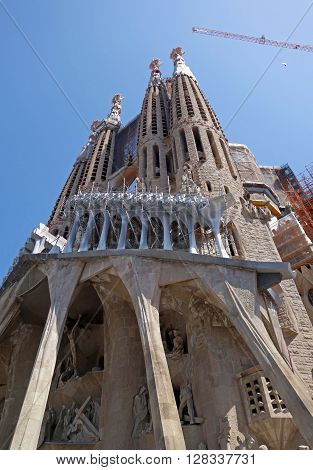 BARCELONA, SPAIN - AUGUST 3, 2015: Detail of the Passion facade of the basilica Sagrada Familia in Barcelona, Spain