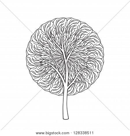 Mandala tree. Hand drawn illustration of tree with abstract round ornament isolated on white background