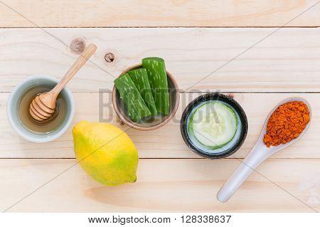 Homemade Skin Care And Body Scrub With Natural Ingredients  Aloe Vera ,lemon,cucumber ,tumeric Powde