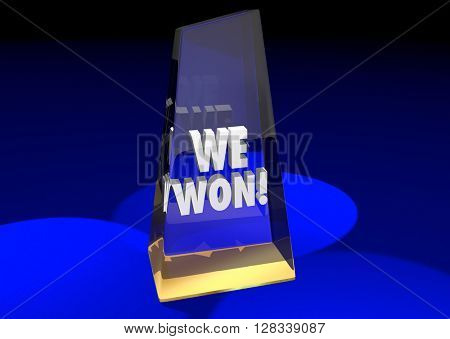 We Won Teamwork Together Game Prize Award Competition 3d Illustration
