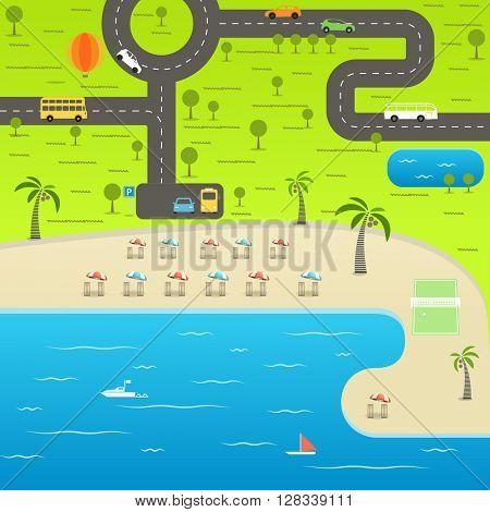 Summer season beach vacation illustration. Vacation vector concept