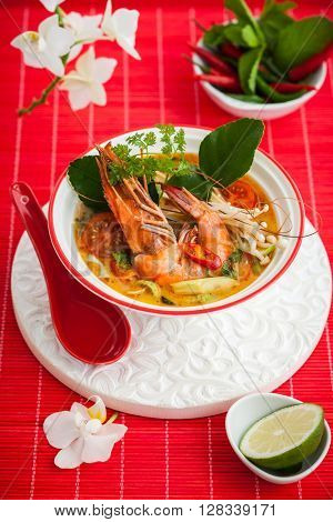Tom Yum soup- Traditional Thai spicy soup with shrimp
