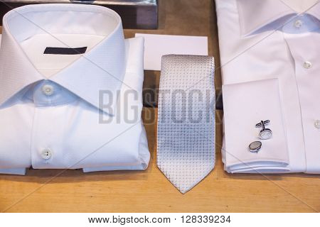 White male shirts with cuff link and necktie