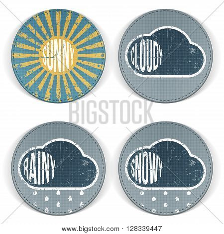 Weather vintage grunge Icons with Text. Sunny, cloudy, rainy and snowy Banner Templates for Print or Web. Vector Illustration