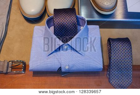 Close up of male shirt and necktie