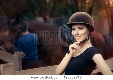Happy Female Jockey Smiling - Confident woman ready to ride a horse