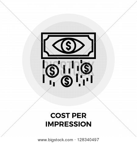 Cost Per Impression icon vector. Flat icon isolated on the white background. Editable EPS file. Vector illustration.