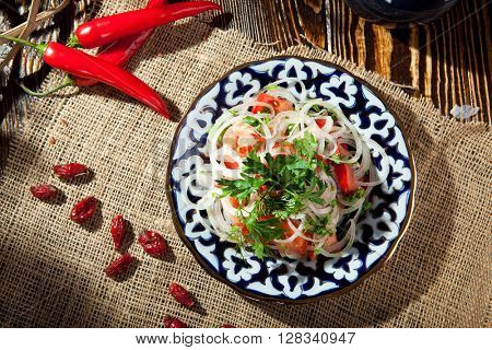 Traditional Salad - Fresh Tomato with Onions and Herbs