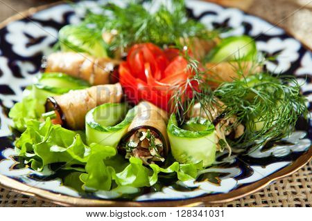 Eggplant Rolls with Tomatoes, Cheese and Cucumber