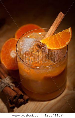 Tangerine Cocktail - Vodka, Tangerine, Lime Juice and Cinnamon Syrup