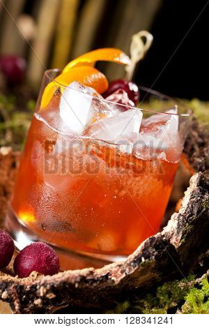 Old Fashion Cocktail - Bourbon, Cane Sugar, Bitter and Orange Peel