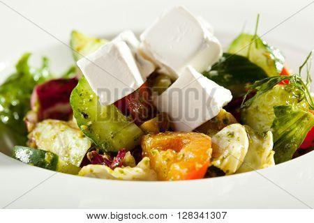 Greek Salad - Feta Cheese, Tomatoes, Salad Leaves,  Olive and Vegetables