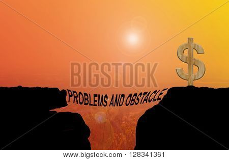 Text Problems And Obstacle Silhouette On Cliff Shadow With Blurred Highland View Background
