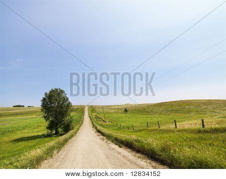 Malerische Land ländlichen Schotterweg führt auf den Horizont.