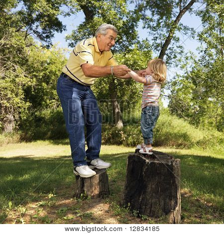 Grandfather and granddaughter playing outside holding hands balancing on stumps.