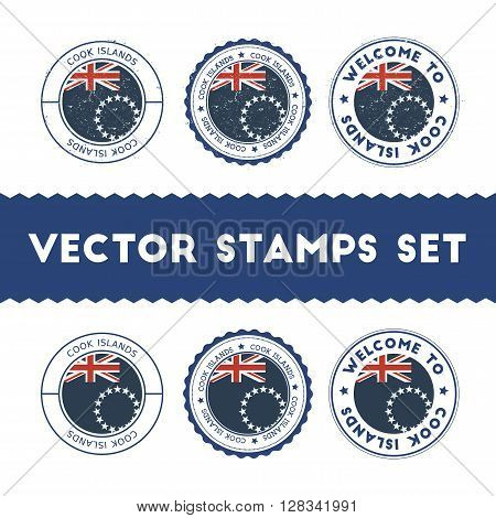 Cook Islander Flag Rubber Stamps Set. National Flags Grunge Stamps. Country Round Badges Collection.