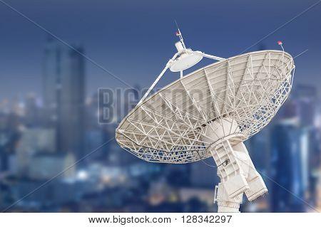 Satellite Dish Antenna Radar And Building Background