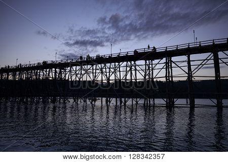Utamanusorn Bridge (mon Bridge), Made From Wooden For Across The River In Sangkhlaburi District, Kan