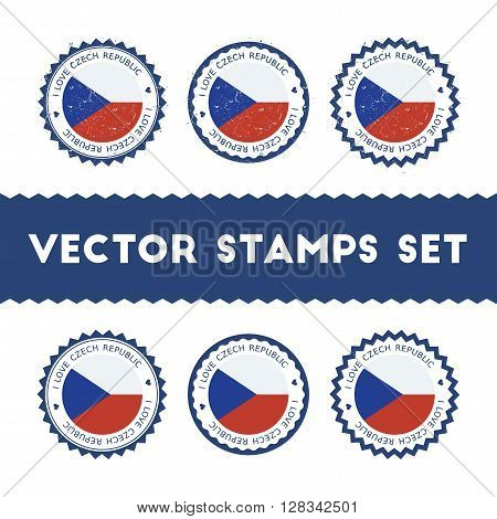 I Love Czech Republic Vector Stamps Set. Retro Patriotic Country Flag Badges. National Flags Vintage