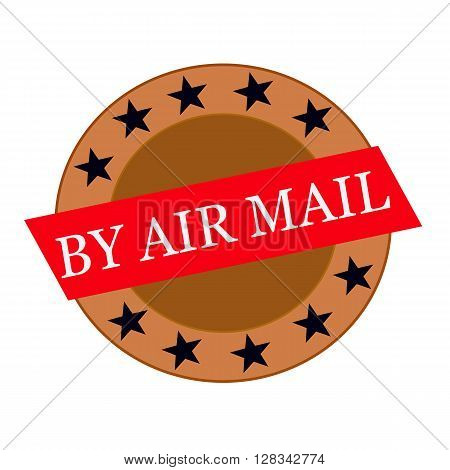 By air mail white wording on Red Rectangle and Circle brown stars