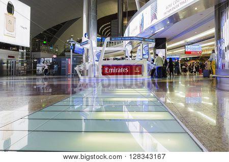 DUBAI - MARCH 14 2016: Info centre in Dubai International Airport UAE. It's world largest building by floor space and world largest airport terminal.