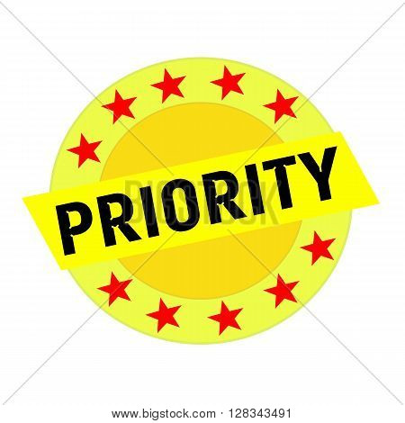 Priority black wording on yellow Rectangle and Circle yellow stars