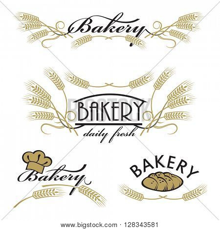 collection of bread and bakery product logos