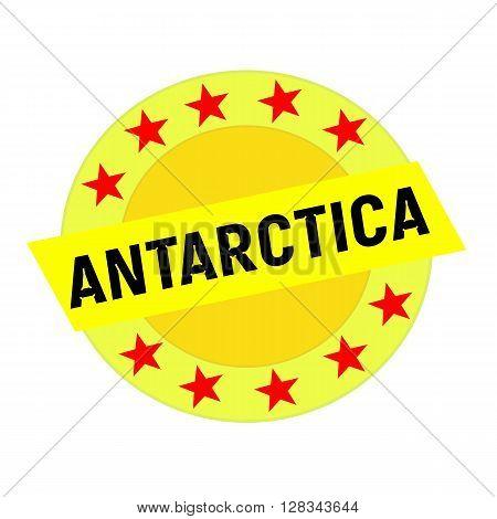 Antarctica black wording on yellow Rectangle and Circle yellow stars