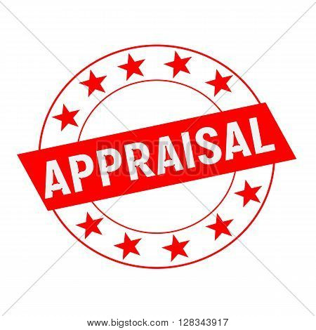 APPRAISAL white wording on red Rectangle and Circle red stars