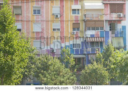 Albania Tirana communist period town houses painted in vivid colours
