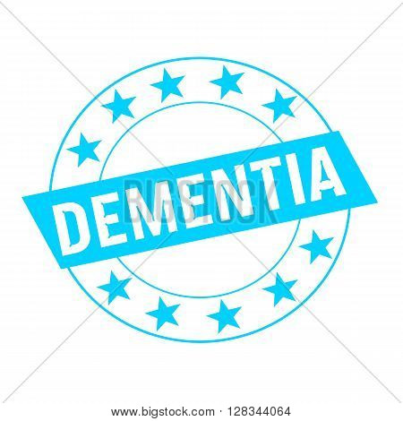 DEMENTIA white wording on blue Rectangle and Circle blue stars