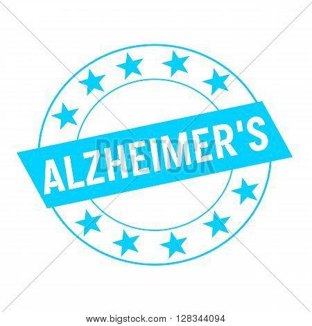 ALZHEIMER'S white wording on blue Rectangle and Circle blue stars