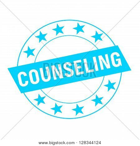 COUNSELING white wording on blue Rectangle and Circle blue stars