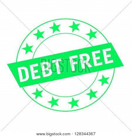 debt free white wording on green Rectangle and Circle green stars