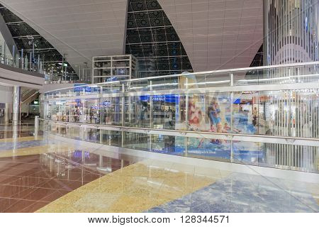 DUBAI - MARCH 14 2016: Dubai International Airport UAE. It's world largest building by floor space and world largest airport terminal.