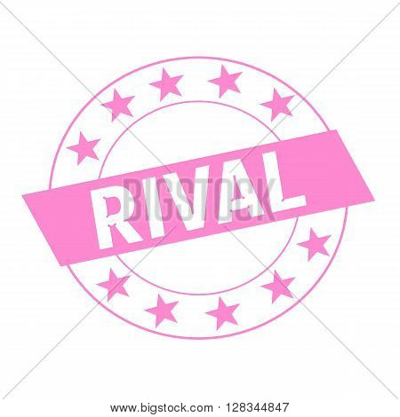RIVAL white wording on pink Rectangle and Circle pink stars