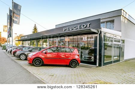 BADEN-BADEN, GERMANY - MAY 2: Office of official dealer Peugeot.  Peugeot is a major French automobile manufacturer, part of the PSA Peugeot Citroen group,  Germany, Baden-Baden, May 2, 2016