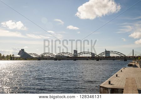 View On Railway Bridge Over Daugava River In Riga