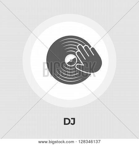Vinyl disc whit hand icon vector. Flat icon isolated on the white background. Editable EPS file. Vector illustration.