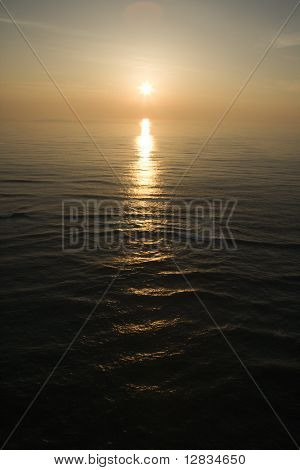 Sunset over Atlantic Ocean.